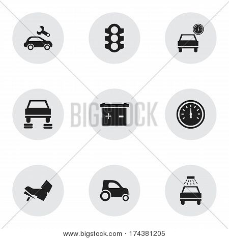 Set Of 9 Editable Car Icons. Includes Symbols Such As Automobile, Speed Control, Stoplight And More. Can Be Used For Web, Mobile, UI And Infographic Design.