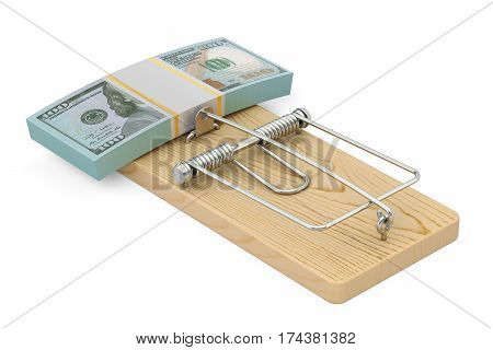money trap with pack of dollars 3D rendering isolated on white background