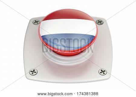 Netherlands flag push button 3D rendering on white