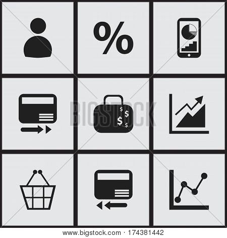 Set Of 9 Editable Analytics Icons. Includes Symbols Such As Pay Redeem, Phone Statistics, Trading Purse And More. Can Be Used For Web, Mobile, UI And Infographic Design.