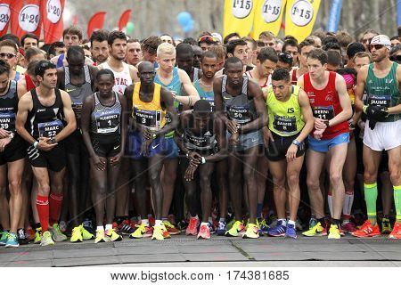 BARCELONA, SPAIN - FEB, 12: Elite runners waiting for start of Barcelona Half Marathon at the Barcelona streets on February 12, 2017 in Barcelona Spain