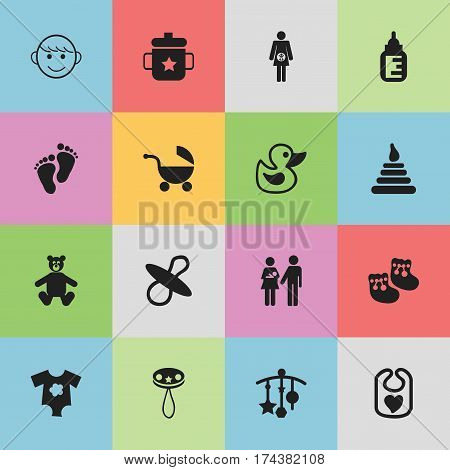 Set Of 16 Editable Baby Icons. Includes Symbols Such As Rattle, Shoes For Babies, Lineage And More. Can Be Used For Web, Mobile, UI And Infographic Design.