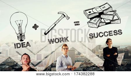Idea plus work equals success. Businessmen on abstract city background. Double exposure
