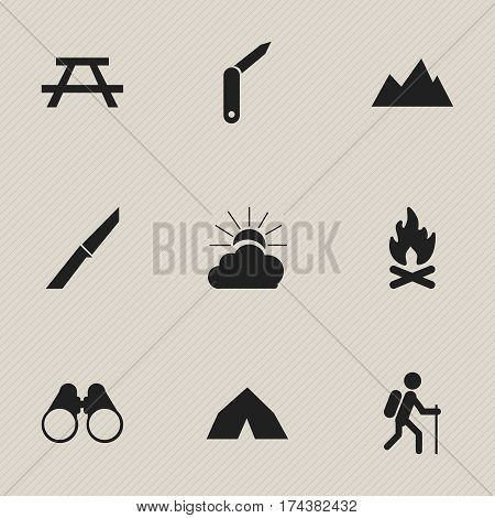Set Of 9 Editable Camping Icons. Includes Symbols Such As Knife, Clasp-Knife, Tepee And More. Can Be Used For Web, Mobile, UI And Infographic Design.