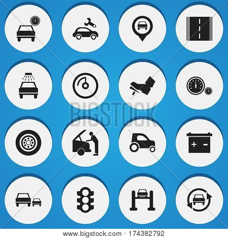 Set Of 16 Editable Vehicle Icons. Includes Symbols Such As Stoplight, Automotive Fix, Speed Display And More. Can Be Used For Web, Mobile, UI And Infographic Design.