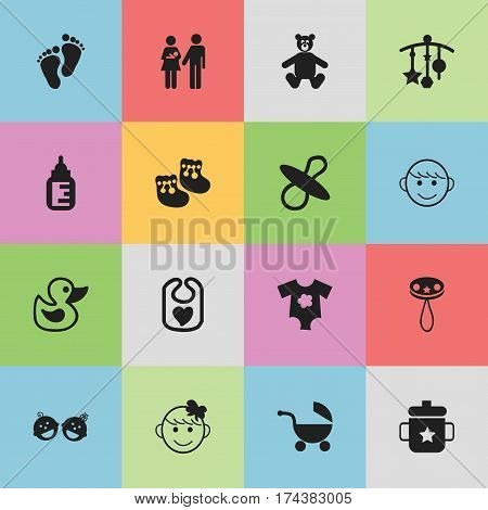 Set Of 16 Editable Infant Icons. Includes Symbols Such As Footmark, Rattle, Bath Toys And More. Can Be Used For Web, Mobile, UI And Infographic Design.