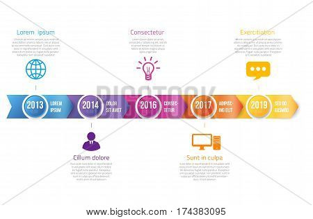 Arrowhead bar timeline infographics with 5 steps years milestone, colorful vector arrows template