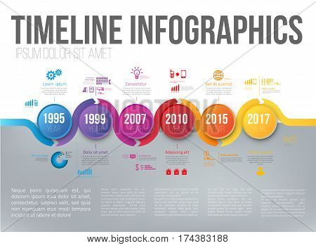 Timeline infographics with 5 steps of years or milestone colored vector template layout for presentation