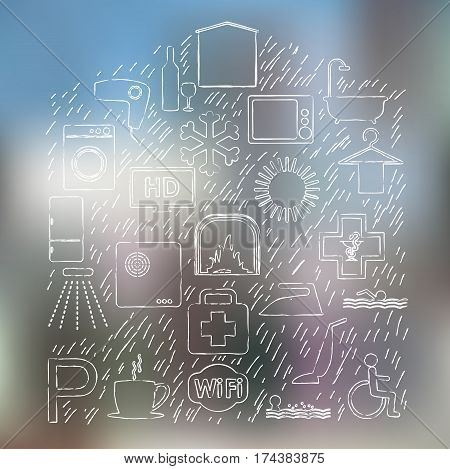Vector house shape design with different hotel icons and blured background