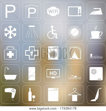 Set of Vector hotel icons on blured background