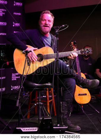 PARK CITY, UTAH-JAN 23: Musician Sting performs onstage at the Sundance ASCAP Music Cafe during the 2016 Sundance Film Festival - Day 3 on January 23, 2016 in Park City, Utah.