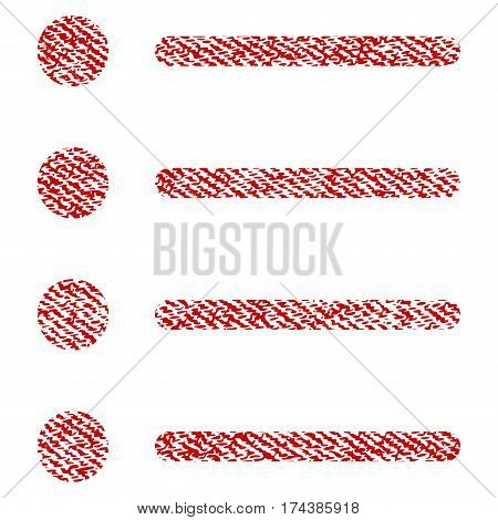 Items vector textured icon for overlay watermark stamps. Red fabric vectorized texture. Symbol with scratched design. Red ink rubber seal stamp with fiber textile structure.