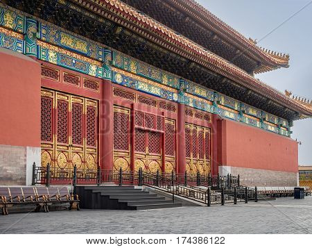 Beijing, China - Oct 30, 2016: The Hall of Supreme Harmony (Taihedian). Forbidden City (Gu Gong, Palace Museum). Where emperors received high officials and exercised their rule over the nation.