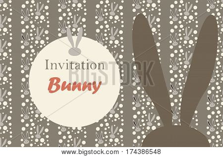 Easter Bunny invitation, Rabbit pattern. Vector illustration. Fashion, textile. Rabbit Print. Rabbit ears pattern. Spring Holiday Abstract background. Vintage