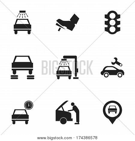 Set Of 9 Editable Car Icons. Includes Symbols Such As Car Fixing, Automotive Fix, Auto Repair And More. Can Be Used For Web, Mobile, UI And Infographic Design.