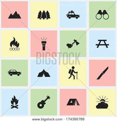 Set Of 16 Editable Trip Icons. Includes Symbols Such As Desk, Shelter, Voyage Car And More. Can Be Used For Web, Mobile, UI And Infographic Design.