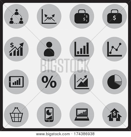 Set Of 16 Editable Statistic Icons. Includes Symbols Such As Equalizer Display, Revenue, Progress And More. Can Be Used For Web, Mobile, UI And Infographic Design.
