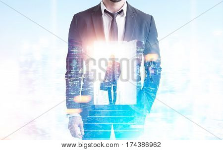 Double Exposure Of Man In Businessman, Suitcase