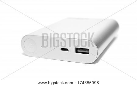 gray powerbank isolated on a white background