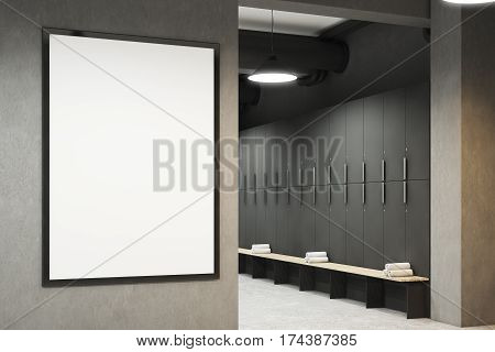 Modern Locker Room With Bench And Poster