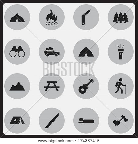 Set Of 16 Editable Travel Icons. Includes Symbols Such As Gait, Tepee, Clasp-Knife And More. Can Be Used For Web, Mobile, UI And Infographic Design.