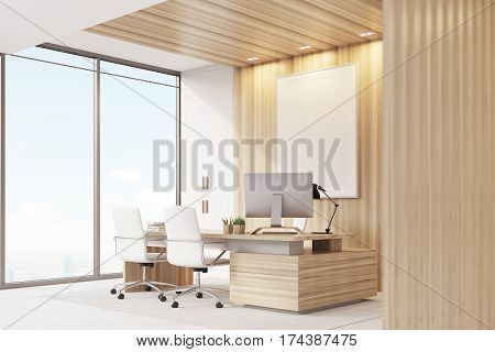 Elegant Ceo Room Interior, Poster, Window