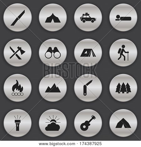 Set Of 16 Editable Trip Icons. Includes Symbols Such As Pine, Sunrise, Blaze And More. Can Be Used For Web, Mobile, UI And Infographic Design.