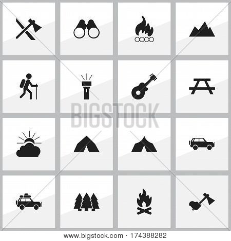 Set Of 16 Editable Travel Icons. Includes Symbols Such As Refuge, Gait, Blaze And More. Can Be Used For Web, Mobile, UI And Infographic Design.