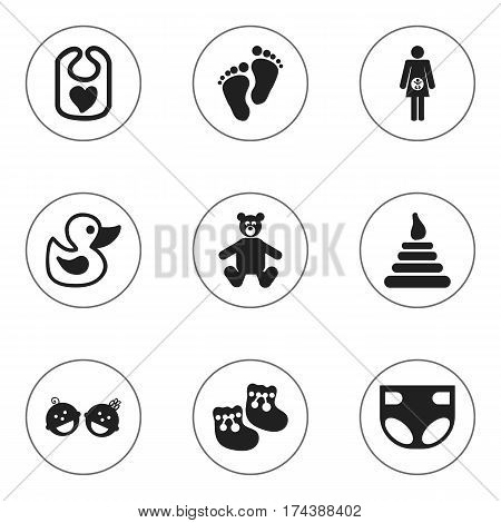 Set Of 9 Editable Infant Icons. Includes Symbols Such As Tower, Pinafore, Nappy And More. Can Be Used For Web, Mobile, UI And Infographic Design.