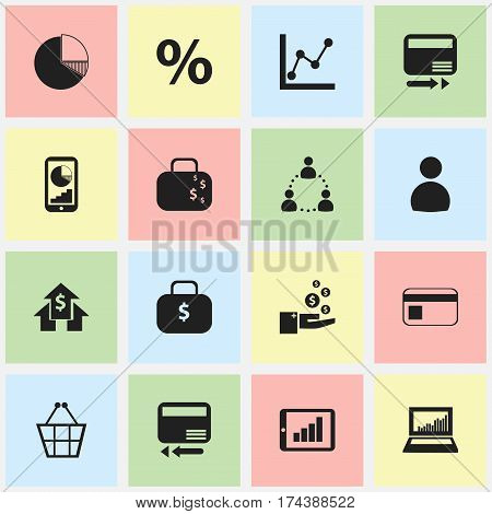 Set Of 16 Editable Logical Icons. Includes Symbols Such As Cash Briefcase, Bank Payment, Banking House And More. Can Be Used For Web, Mobile, UI And Infographic Design.