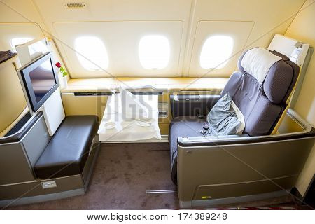 Lufthansa Airbus A380 Airplane Inside Seats