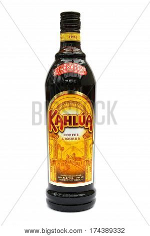 Camberley, Uk - March 1St 2017: A Bottle Of Kahlua Coffee Liqueur, A Popular Drink Made In Mexico