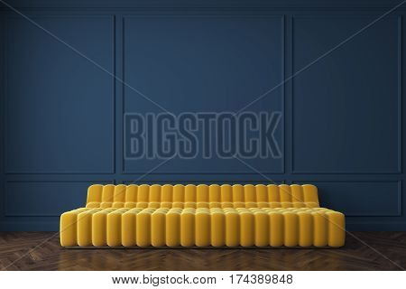 Yellow Sofa Against Dark Blue Wall