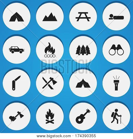 Set Of 16 Editable Camping Icons. Includes Symbols Such As Fever, Bedroll, Field Glasses And More. Can Be Used For Web, Mobile, UI And Infographic Design.