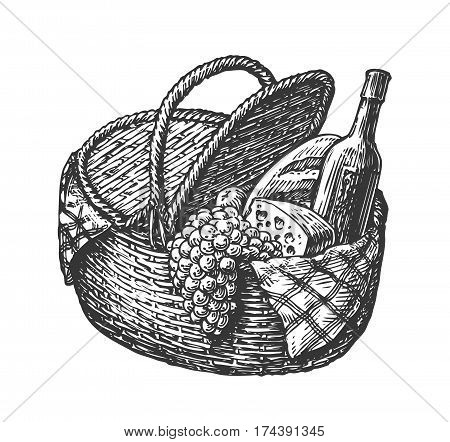 Vintage wicker picnic basket with food such as bottle of wine, cheese, bunch grapes. Sketch vector illustration