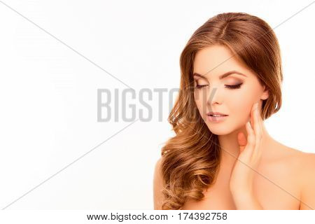 Sensitive Young Beautiful Woman Touching Her Face