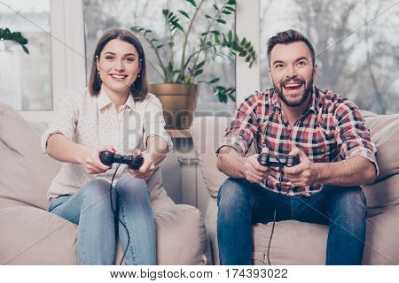 Young Happy Couple Having Date And Playing Video Games
