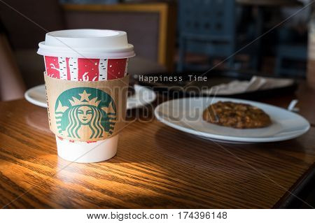 LAMPANG THAILAND JAN 02 2017: A tall Starbucks coffee in starbucks offee shop. Starbucks is the world's largest coffee house with over 20000 stores in 61 countries.