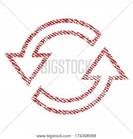 Sync Arrows vector textured icon for overlay watermark stamps. Red fabric vectorized texture. Symbol with unclean design. Red ink rubber seal stamp with fiber textile structure.