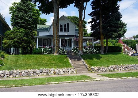 HARBOR SPRINGS, MICHIGAN / UNITED STATES - AUGUST 4, 2016: A Victorian home, dubbed