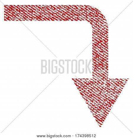 Turn Down vector textured icon for overlay watermark stamps. Red fabric vectorized texture. Symbol with dust design. Red ink rubber seal stamp with fiber textile structure.