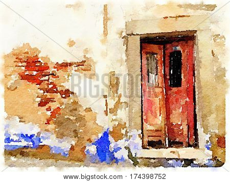 Digital watercolor painting of a red derelict double front door with a brick and plastered wall that is peeling and falling apart in Lisbon Portugal. With wall space for text.