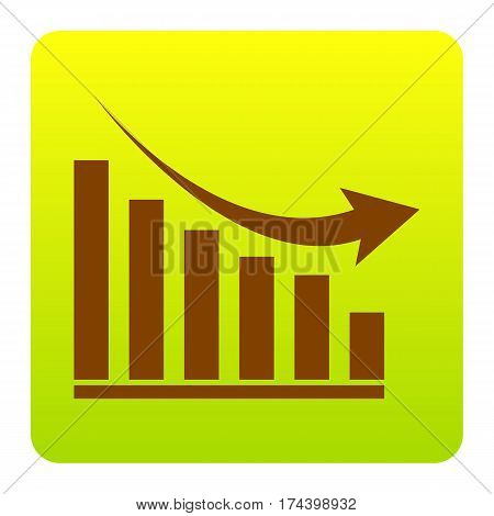 Declining graph sign. Vector. Brown icon at green-yellow gradient square with rounded corners on white background. Isolated.