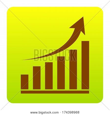 Growing graph sign. Vector. Brown icon at green-yellow gradient square with rounded corners on white background. Isolated.