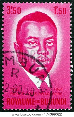BURUNDI - CIRCA 1963: a stamp printed in Burundi shows Prince Louis Rwagasore Son of King Mwami Mwambutsa IV and Prime Minister circa 1963