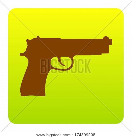 Gun sign illustration. Vector. Brown icon at green-yellow gradient square with rounded corners on white background. Isolated.