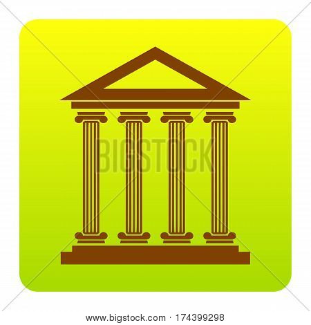 Historical building illustration. Vector. Brown icon at green-yellow gradient square with rounded corners on white background. Isolated.