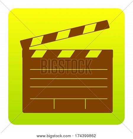 Film clap board cinema sign. Vector. Brown icon at green-yellow gradient square with rounded corners on white background. Isolated.