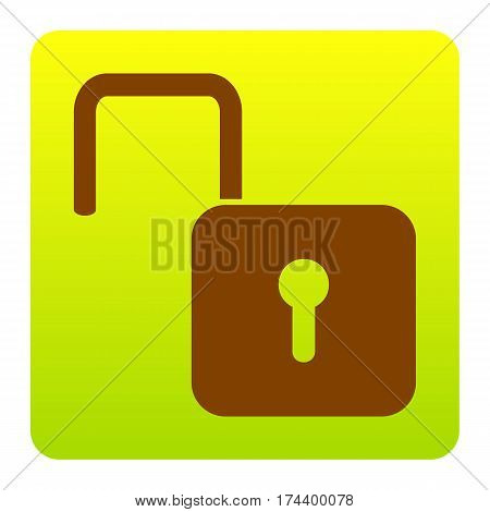 Unlock sign illustration. Vector. Brown icon at green-yellow gradient square with rounded corners on white background. Isolated.