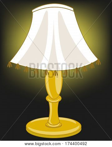 Home illumination from lamp with lampshade in the dark